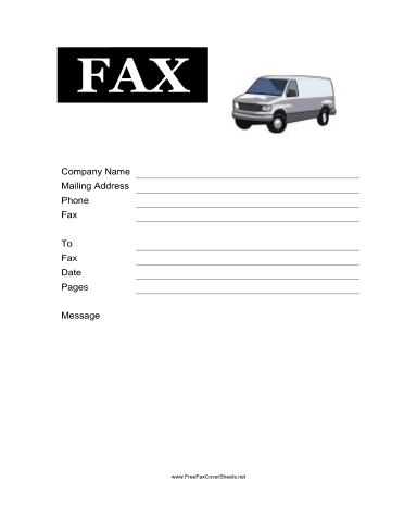 Delivery Van Fax Cover Sheet