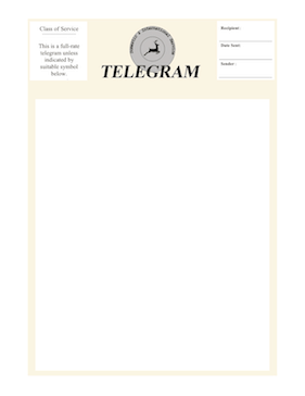 Full Page Old Telegram Fax Cover Sheet