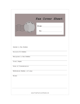 Full Page Postmark Detailed Fax Cover Sheet