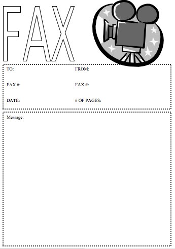 Movie Camera Fax Cover Sheet
