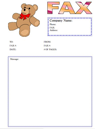 teddy bear fax cover sheet at freefaxcoversheets net