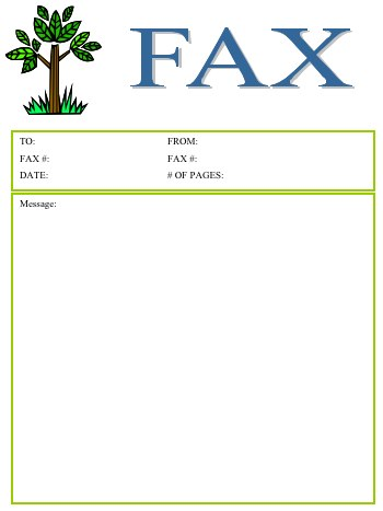 tree fax cover sheet this fax cover sheet includes a cute image of a